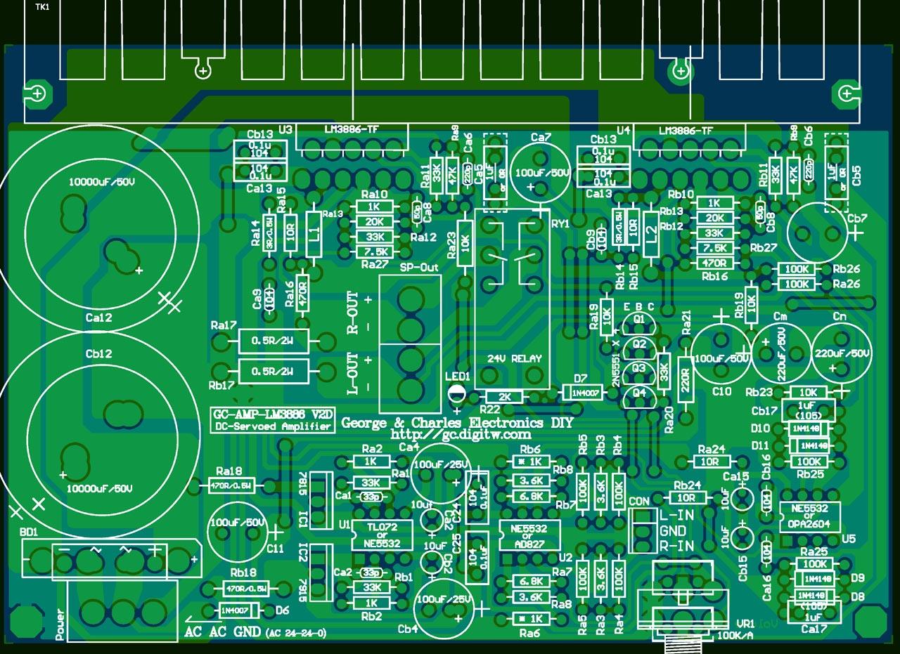 点图可下载大图档↑ 电路板底片(d版)图下载:lm3886v2-bl.